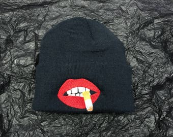 Smoking red lips - black embroidered beanie hat