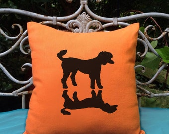 Hand Printed Poodle and Shadow  Silhouette Orange  Cushion Cover