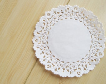 50 White paper lace doily doilies 4 inch size