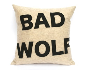 Bad Wolf- Appliqued Eco-Felt Pillow Cover in Stone and Black - 18 inches