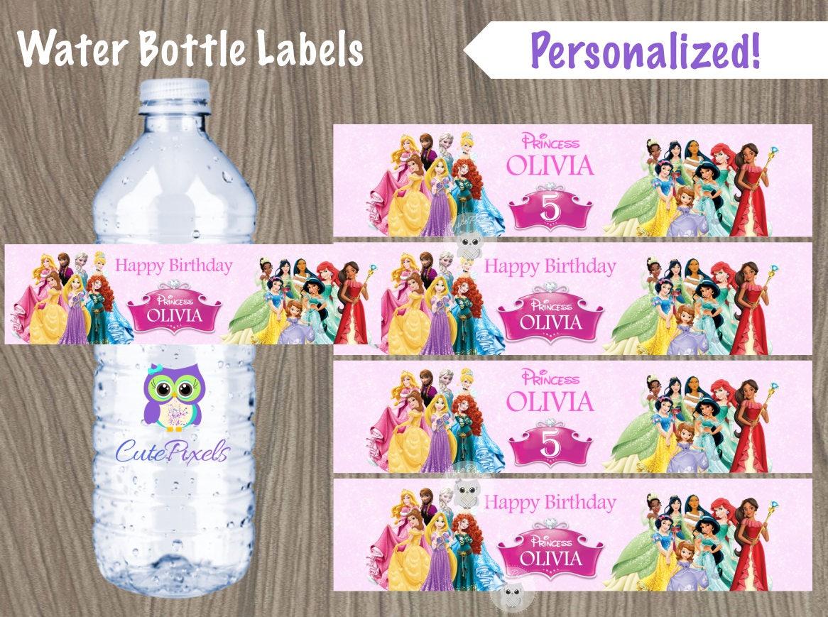 Disney Princess-Wasser-Flaschen-Etikett Prinzessin