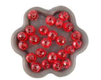 x 20 (67C) 6x4mm red glass faceted bead