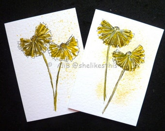 Original watercolour yellow daisy flower handmade art cards blank greeting cards note cards with envelopes