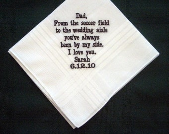 Embroidered Father of the Bride Handkerchief – Father of the Bride Gift – Groomsmen Handkerchief – Personalized Hankie, pocket square144B