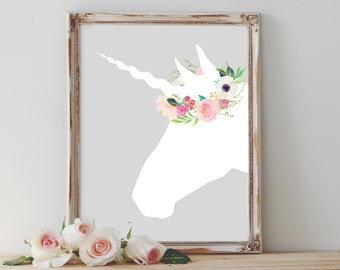 Girl's Nursery print, PRINTABLE, watercolor floral unicorn wall art baby shower newborn gift baby girl's bedroom decor, flower crown unicorn