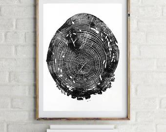 Large tree ring print, handmade woodblock print, original modern art, large wall art, 16 X 20