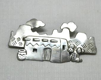 Vintage Southwestern Pin Brooch Adobe House Catcus Jonette Jewelry Metal Desert Southwest