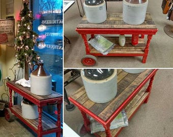 Rustic Upcycled Table / Cart, Stained Hardwood Top & Bottom Shelf, 2 Wheels, Handle on other side