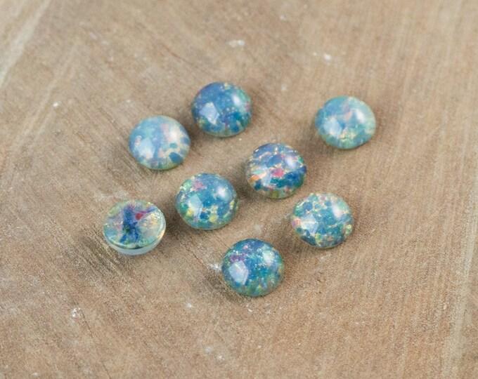 Medium Blue Opal Glass Cabochon 7mm (4) cab3003C