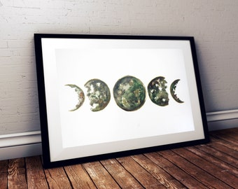 Moon phases | Original watercolor painting A3