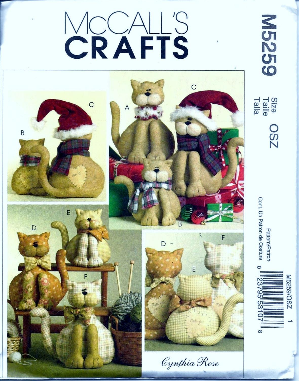 McCall\'s M5259 Weihnachten Katzen gefüllte Puppen Tier Schnittmuster ...