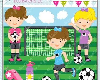 Soccer Girls Cute Digital Clipart for Commercial and Personal Use, Soccer Clipart, Soccer Graphics
