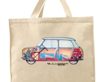 MINI 'ac tote bag/ Classic Mini/ Austin Mini tote bag/ Mini Cooper tote bag/
