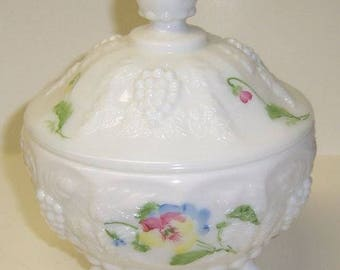 Westmoreland Milk Glass Paneled Grape PANSY 3 Footed Candy Dish with Lid, Hand Painted