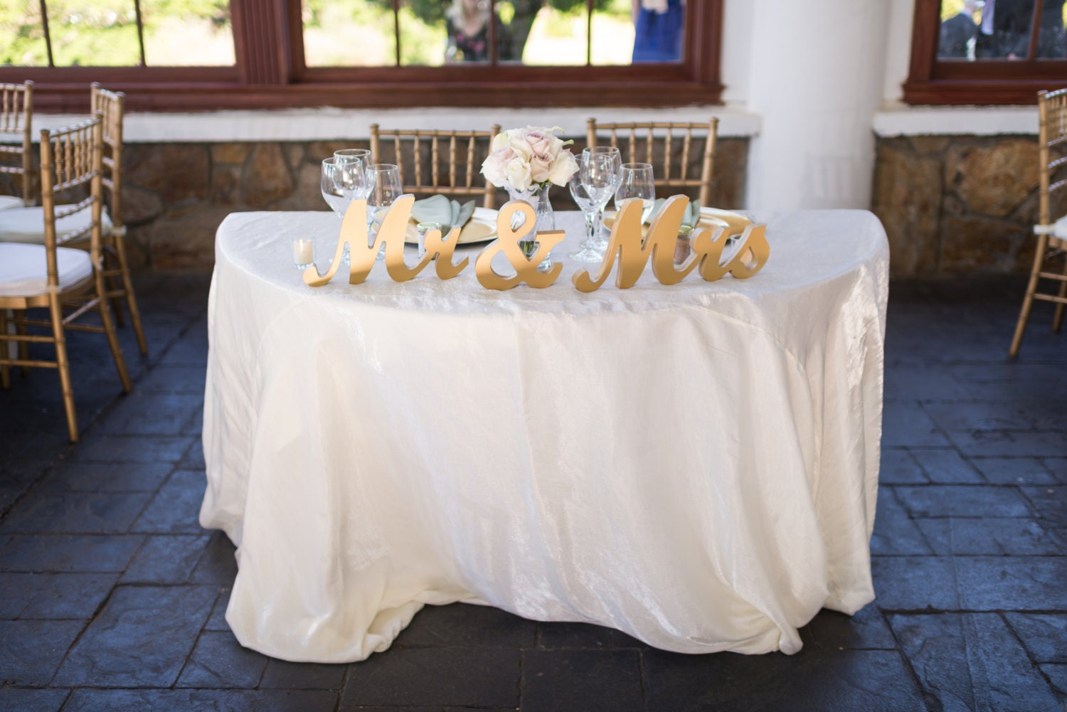 Gold Mr and Mrs Sign Wedding Sweetheart Table Decor Mr & Mrs