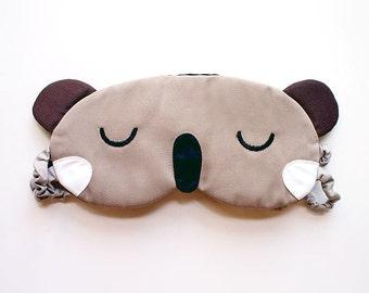 KOALA Sleep Mask, Eyemask, eye mask, beauty sleep mask, sleep eye mask, Koala mask, Koala eyemask, koala sleeping mask - BEIGE KOALA