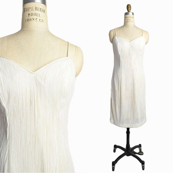 Vintage Ivory Shimmer Dress / White Wedding Dress / Vintage 90s Dress - women's medium