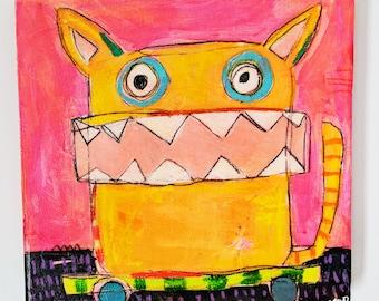Unhinged Kitty Original Painting