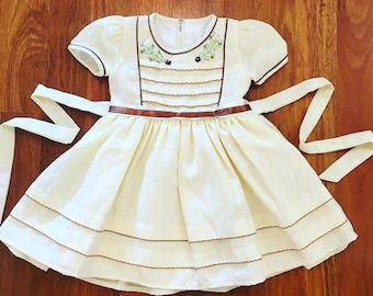 Vintage Toddler Girl Embroidered Yellow Party Dress