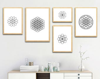 Geometry Shapes and Lines, Abstract printable art, gift ideas, home decoration wall art, digital download, print at home, 55-63