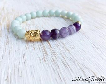 Amazonite Amethyst Gold Buddha Bracelet, Buddhist Jewelry, Gemstone Bracelet, Wrist Mala, Mala Beads Bracelet, Healing Crystals Bracelet