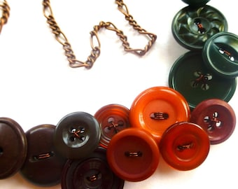 Earth Tones Vintage Button Statement Necklace in Brown, Rusty Orange, and Deep Green -  Clearance Sale Button Jewelry