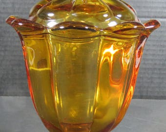 Viking Art Glass Amber Lidded Footed Pedestal Compote Candy Dish 1960's Mid Century