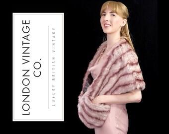 Vintage pink/pastel/purple rabbit real fur stole/wrap/shawl/cape.perfect vintage bridal piece