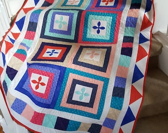 Lap Quilt, Small Quilt, Throw Quilt, Colorful Quilt