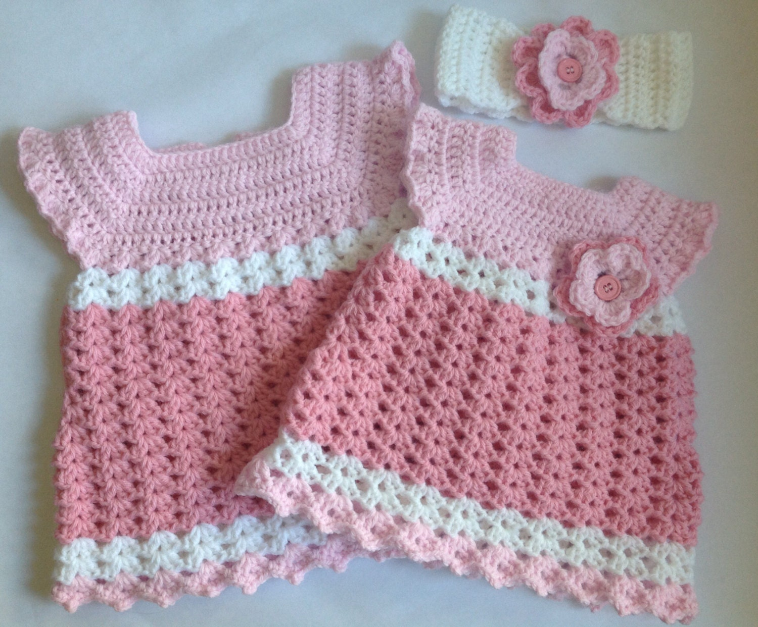 Crochet baby girl dress with headband pdf pattern tutorial zoom baditri Image collections