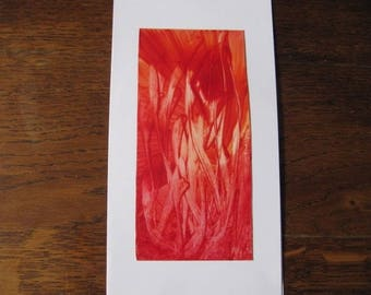Original Encaustic Painting greeting card here or there 51 fire