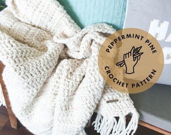 Rothmere Fringe Throw Blanket - CROCHET PATTERN - Chunky Afghan Blanket Instant Download