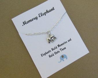 Memory Elephant Elephant Friendship necklace Elephant charm Best Friend gift Wish necklace Elephant wish necklace Birthday Gift BFF gift