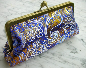 Metal-frame clutch brocade purse wedding metal frame bridalclutch handbag handbag purse