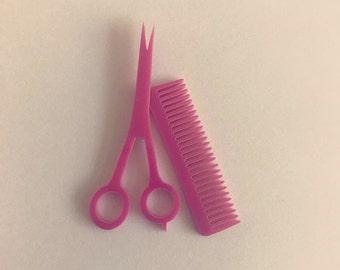 Laser cut acrylic scissors/comb set