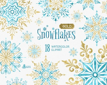 Snowflakes Gold. 18 Watercolor separate Elements, clipart, christmas, blue, golden, holiday, card, diy, invitation, snow, winter, glitter