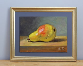 Yellow Pear Still Life Original Oil Painting by Aleksey Vaynshteyn