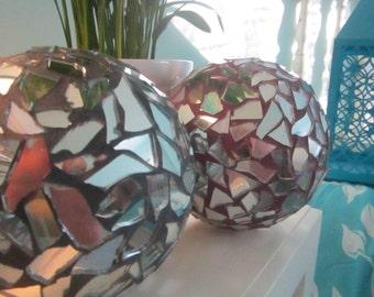 """Mosaic Mirrored Garden / Indoor Decorative """"Gazing Balls """""""