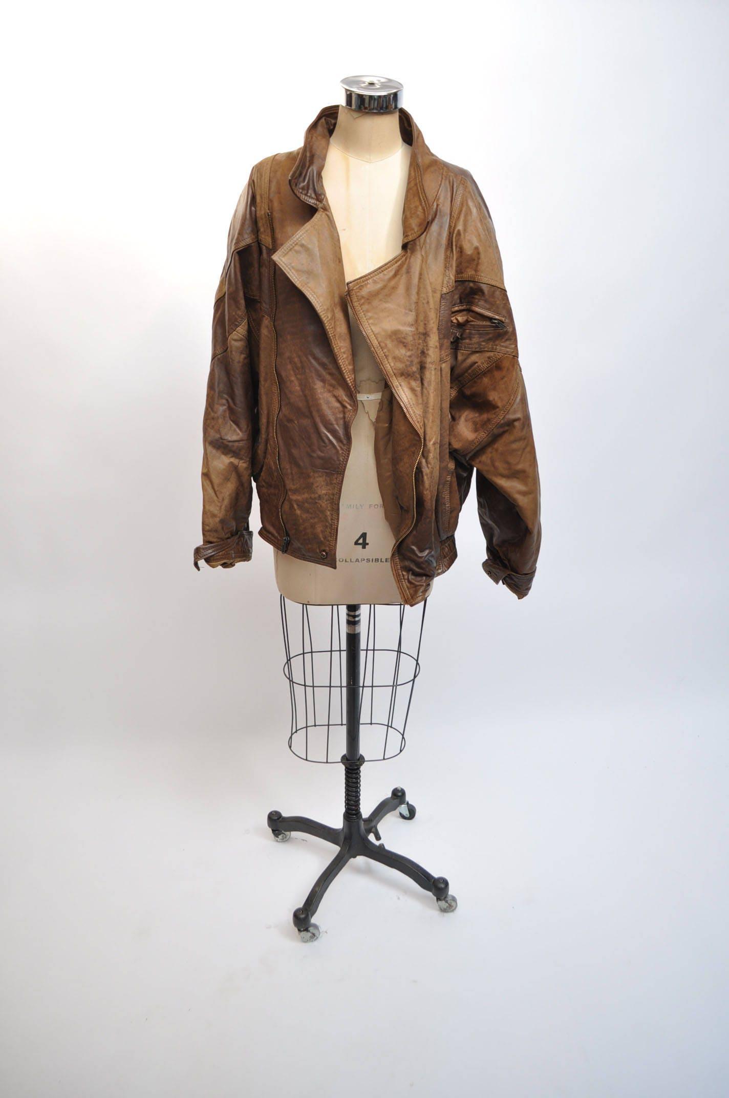 vintage leather jacket OVERSIZED bomber boyfriend dad 1980s avant garde slouch lWSO953a