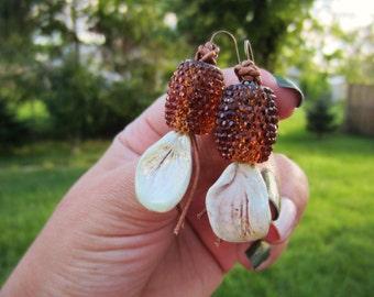 Petal earrings. Iridescent earrings. Mother's Day gift. Dangle, drop earrings. Lightweight amber barrel beads. Gift for her. Free shipping.