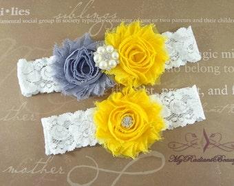 Garter, Wedding Garter, Bridal Garter, Shabby Rosette Gray Yellow Garter, Garter set, Garter belt, Lace Garter, Custom Garter Set GTF0028GY