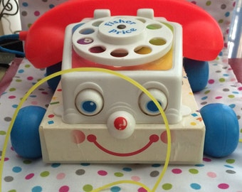 VINTAGE 1985: Fisher Price Chatter Telephone Pull Toy