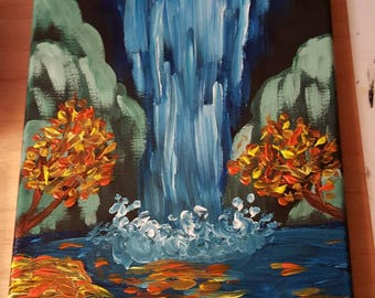 """Acrylic Painting on Canvas """"Jungle Waterfall"""""""