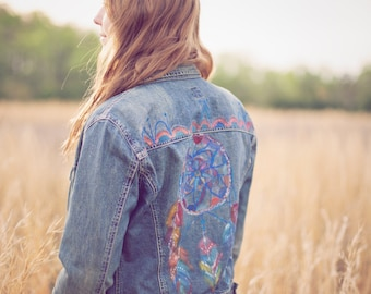 Hand painted/dreamcatcher/indian feathers/denim womens jacket