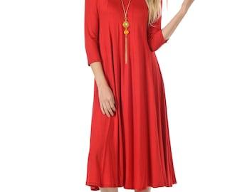 A-Line Trapeze Midi Dress Red