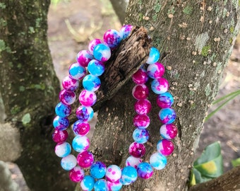SALE Pink, blue and white 8mm glass bead bracelet