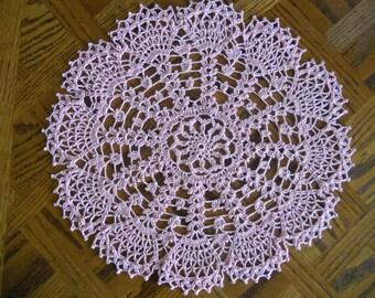 Snow Flurry Crocheted Doily - handmade- pink,