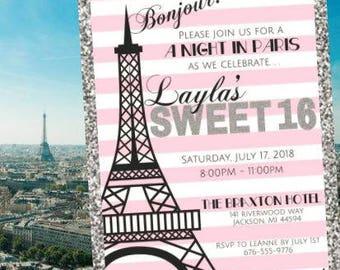 Fun, Paris, France, Eiffel Tower, Pink, Silver and White Sweet 16 Invitation + Digital