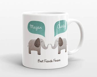 Best Friend Gift, Elephant Mug, Personalized Best Friend Mug, Animal Best Friend Coffee Mug, Unique Friendship Gift, Friend Birthday Gift