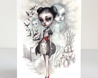 A Girl and Her Ghosts - 4 x 5.75 Mini Art Print by Mab Graves - unframed